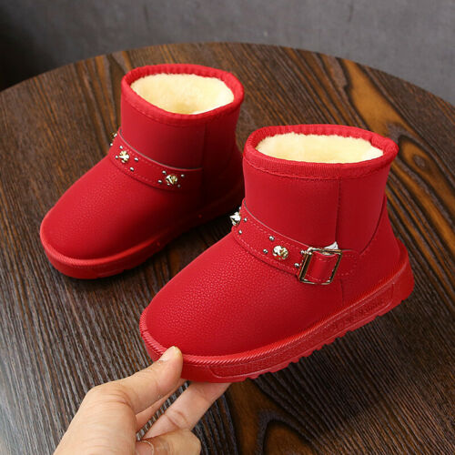 Winter Children Kids Rivets Ankle Snow Boots Boys Girls Outdoor Sneaker Shoes