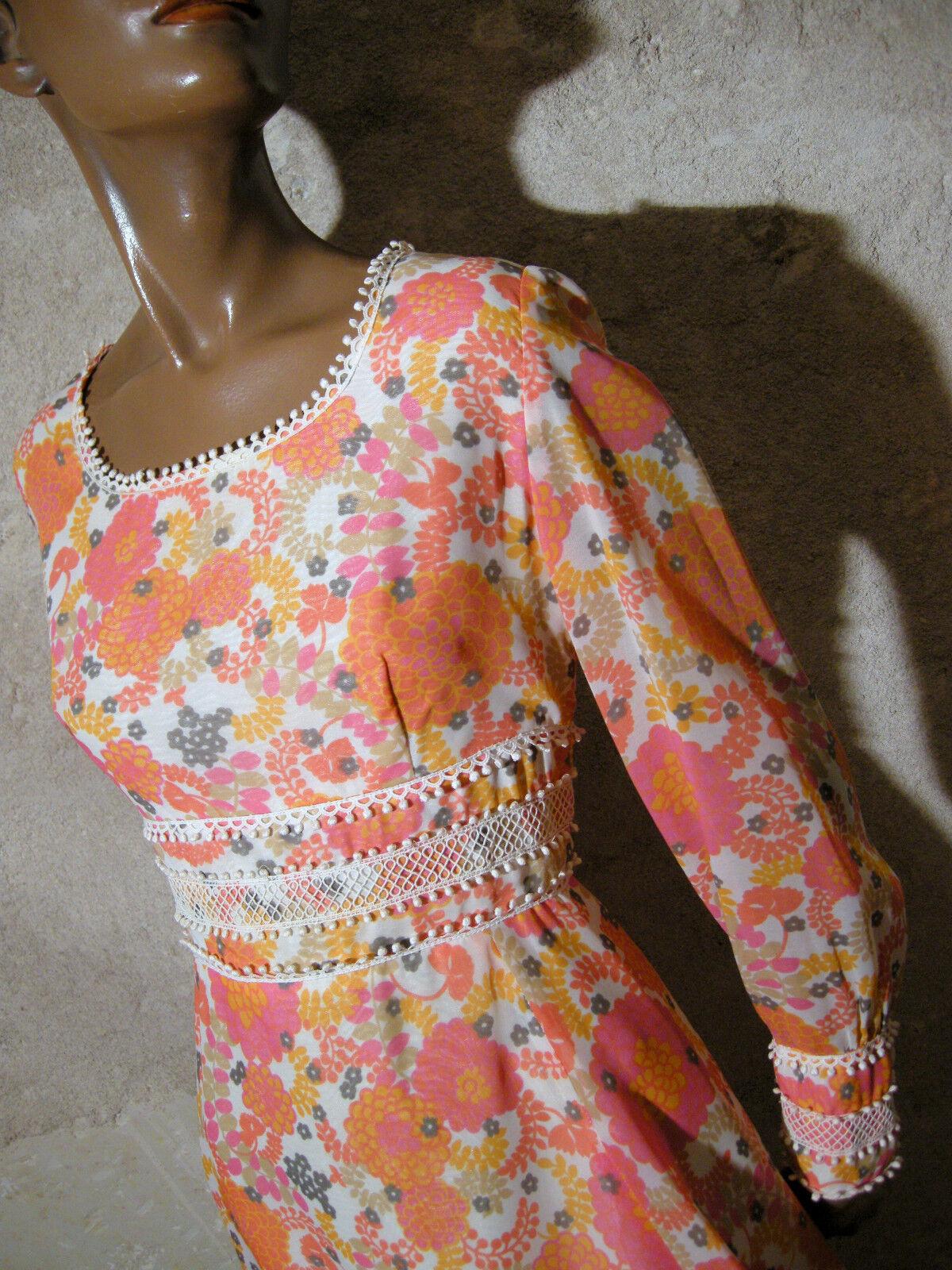 Schick Vintage Kleid 1970 Vtg 70s 70er Abito-Anni 70 Retro (40)