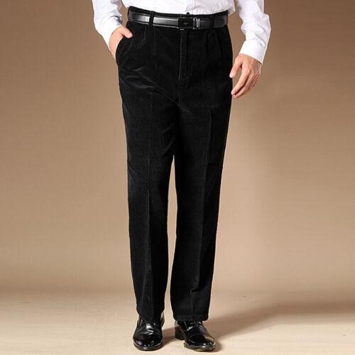 Men High waist Corduroy stripe Business suit Pants office classic Trousers A021
