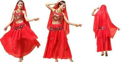 YYCRAFT Womens Halloween Costume Tops Skirt Set with Accessories Belly Dance Performance Outfit 6 Colors Red