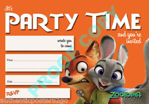 48 Zootopia Pack Of 10 Kids Children Birthday Party Invitations Ebay