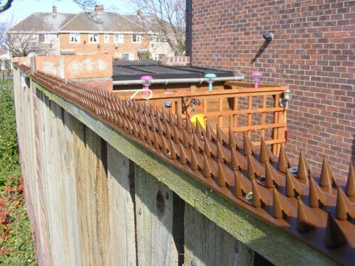 40 x Fence /& Wall Spike Set Intruder Cat Repeller Anti Climb Walls Brown 17.6mtr