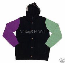 Stussy Mens XL Black/Purple/Green Colorblock Lambs Wool Hoodie Cardigan Sweater