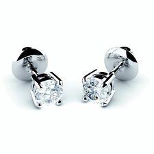 1/3 ct ronda diamante Pendientes con Pasador hecha a mano en oro blanco 18k