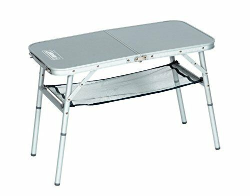 Coleman mini camp folding table with aluminium frame & storage space - Weiß