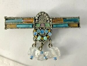 Vintage-Silver-Tone-Brooch-Bar-Pin-With-Rhinestone-Beautiful-Intricate-Detail