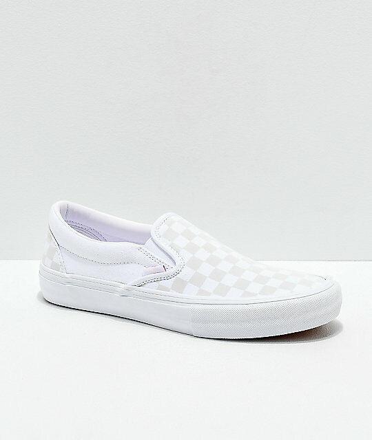 Brand New Unisex VANS Checkerboard Classic Slip-On True White Skate Shoes