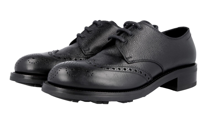AUTH LUXURY PRADA BROGUE WINGTIP DERBY scarpe 2EE223 nero US 9 EU 42 42,5