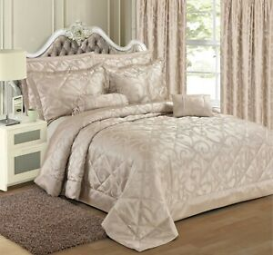 New Luxury Jacquard shimmer Glitter Quilted Bedspread Comforter Throw Bedding