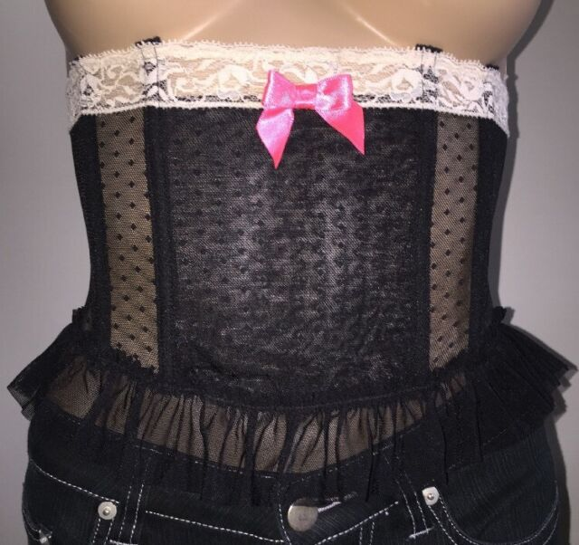 47a42eed4 H M Sheer Lace Corset Size 6 NWT Black Polka Dot Mesh Sexy Waist Cincher NEW