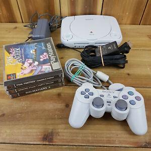 Paquete de Consola Sony Playstation 1 PSOne * LEER * 3 Juegos Controlador lidera Set Completo