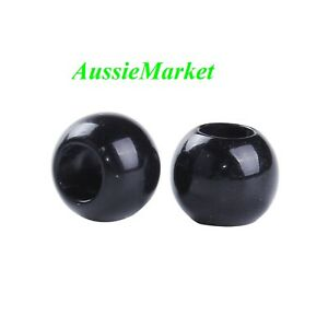 50 x beads acrylic plastic black 10mm large big hole loose spacer jewellery new