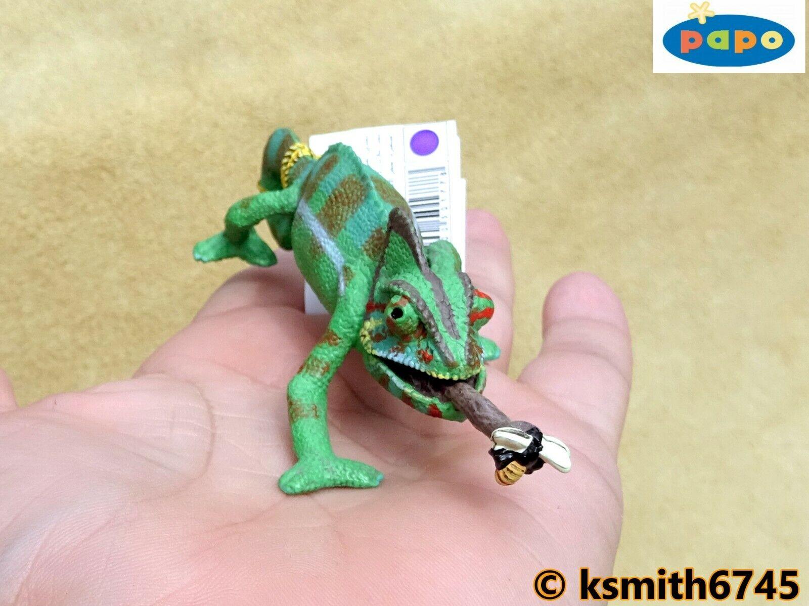 Papo Caméléon avec abeille solide Jouet en plastique Wild Zoo Animal Reptile Lizard New