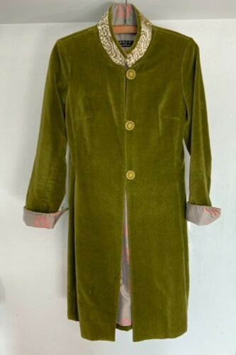 Sole by Soledad Twombly Green Velvet Duster Jacket