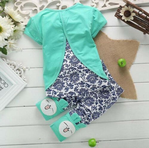 2PCS Toddler Kids Baby Girl Short Sleeve T-Shirt Tops+Pants Bunny Outfit Clothes
