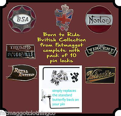 Transportation Pin locks BSA British Motorcycle Marques Trio of Pin Badges