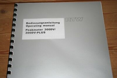 Rtw Peakmeter 300dv 300dv-plus Operating Manual Bedienungsanleitung Audio For Video