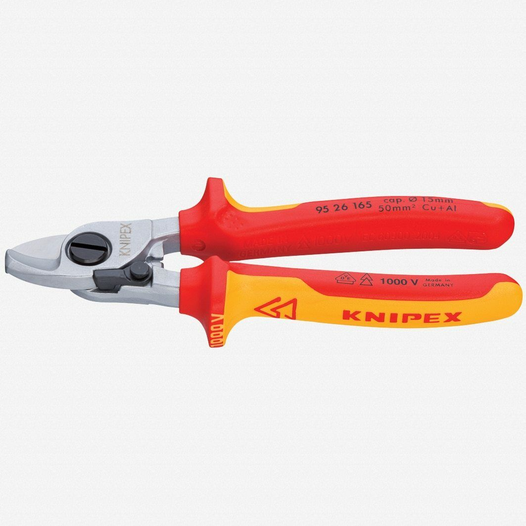 Knipex 95-26-165 6.5  Cable Shears with Opening Spring - Insulated, Chrome