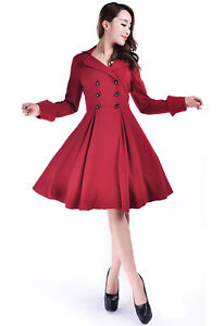 sale  red retro dress jacket double breasted knee length