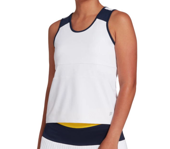 Prince Tennis Tank Top Womens Authentic Lightweight UV Sun Protection White Blue