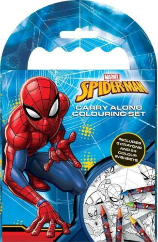 SpiderMan Bumper Carry Along Colouring Set Travel Activity Kids Stocking Filler