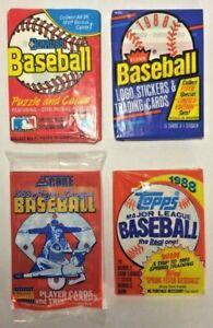 Lot-of-4-1988-Donruss-Fleer-Score-amp-Topps-Baseball-Cards-Wax-Packs-From-Box