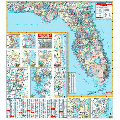 Large Map Of Florida.New Large Wall Map Of Florida Large Scale W Mounting Rails Ebay