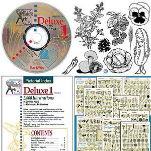 DELUXE-1-ClipArt-Images-Graphics-Drawings-CD-Herbs-Flowers-Fruits-Veggie-Trees