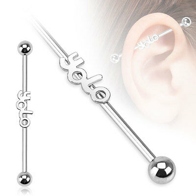 """Surgical Steel 'YOLO' Word Design Cartilage Piercing Industrial Barbell 14G 1.5"""""""