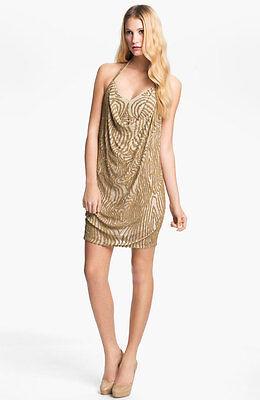Haute Hippie  Beaded Silk Halter Dress Cocktail  Party   $795  size L