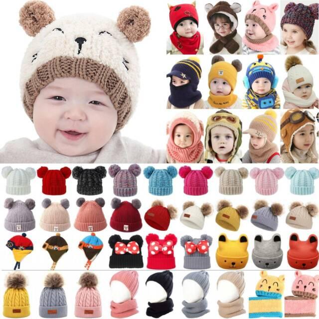 New Winter Kids Crochet Knit Unicorn Hood Hat Scarf w Gloves Girls Boys Age 3-10