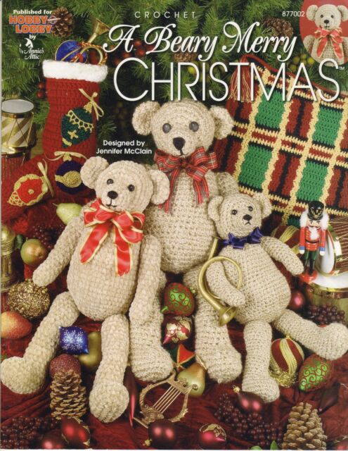CROCHET PATTERNS - A BEARY MERRY CHRISTMAS  BEARS STOCKING AFGHAN PILLOW *SALE*