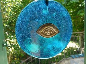 Lot-BIJOUX-et-DECO-4-pieces-oeil-de-la-chance-verre-bleu-argent-MATI-grec
