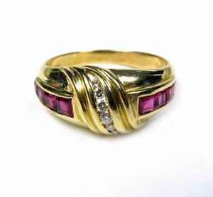 Image Is Loading Vintage Ruby Diamond 0 75ct Wedding Band Tail