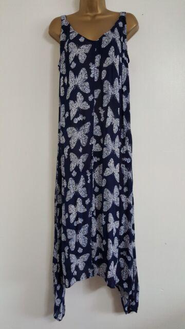 NEW ExEv-ns Plus Size 18-28 Butterfly Print Asymmetric Hem Blue White Midi Dress