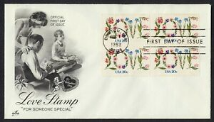 #1951 20c Love-Block De 4 , Art Craft FDC Cualquier 4=
