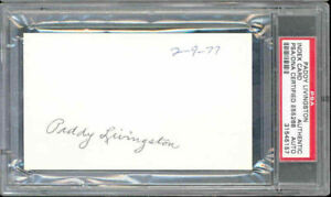 Paddy Livingston autograph signature 3x5 Index Card PSA DNA authentic
