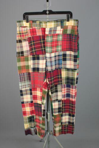 Men's 1970s Patchwork Plaid Pants 35x30 70s Vtg Wo