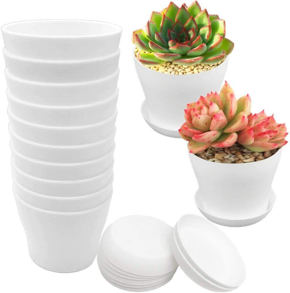 12 Pcs White Plastic Planters Pots,4 Inch Flower Plant Nursery Pot with Drainage