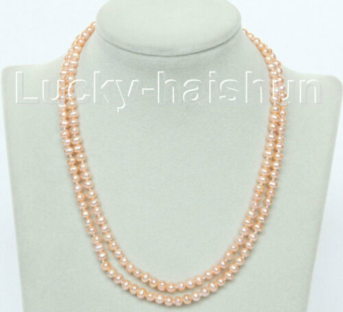 natural 16 2row pink round freshwater pearls necklace 925 silver clasp j10485