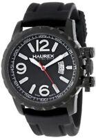 NEW Haurex Italy 3N502UNN mens Aeron Ion Plated Black rubber luminous watch 50m