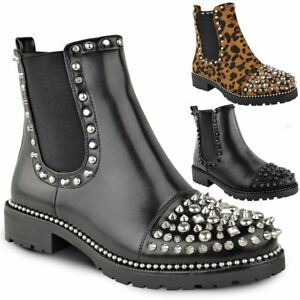 New-Womens-Ladies-Studded-Goth-Zip-Ankle-Boots-Gusset-Chelsea-Chunky-Punk-Size