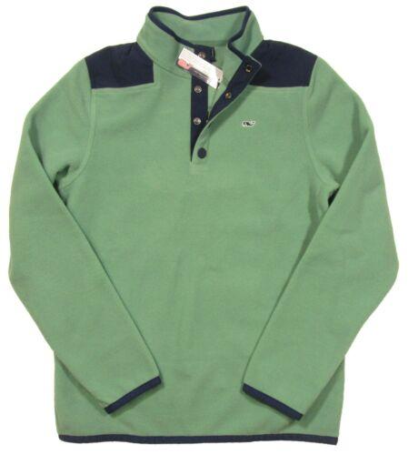 Vineyard Vines Boys Starboard Green 1//2 Button Snap Fleece Shep Shirt