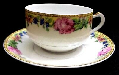 ANTIQUE LIMOGES HAVILAND /& Co PINK CABBAGE ROSE CUP SAUCER DESSERT PLATE TRIO