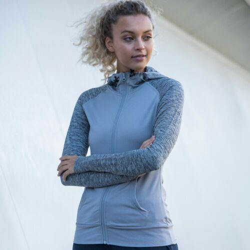 Femmes Full Zip Manche Longue Running Training Sport Haut à Capuche Pouce Trous Gym