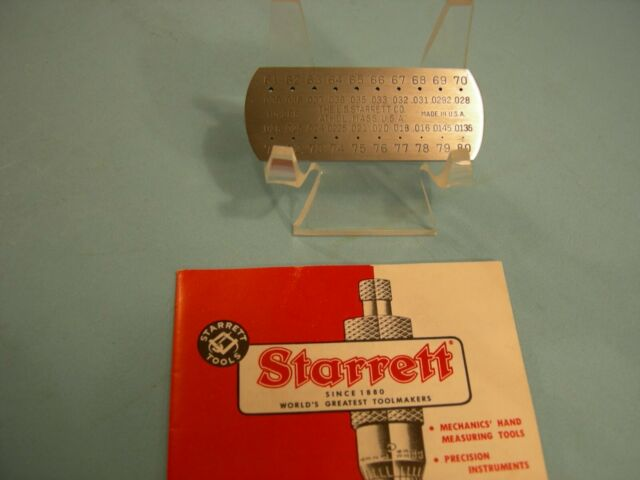245 GAGE NUMBERED SIZES 19-36 STARRETT ENGLISH STANDARD WIRE GAGE LEAF FROM NO