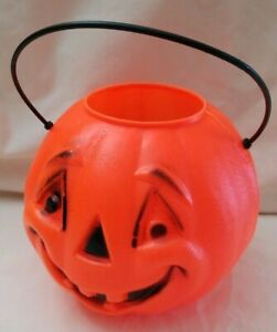 HALLOWEEN-vintage-JOL-Pumpkin-Candy-Pail-Bucket-Container-Small-Blow-Mold-5-5-034