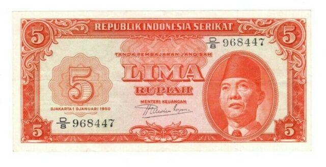 INDONESIA SERIKAT *VERY RARE* 5 Rupiah (1950) P-36 VF+ D/8 Prefix Banknote