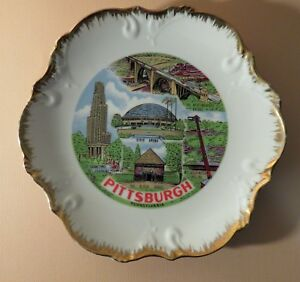 "Vintage Pittsburgh Pennsylvania 8"" Souvenir Plate. Cathedral of Learning, Civic"