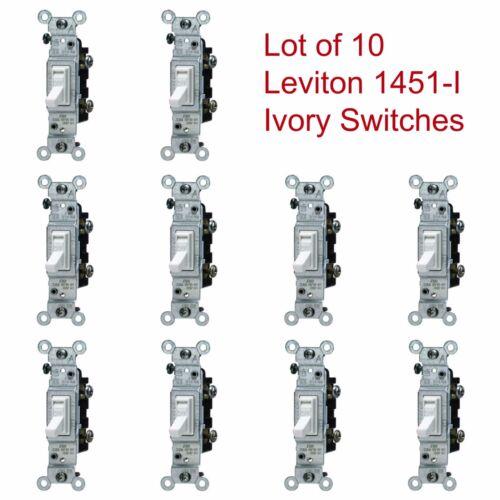 10-PK LEVITON IVORY Framed Toggle Wall Light Switches 15A 120V 1451-I Lot NEW
